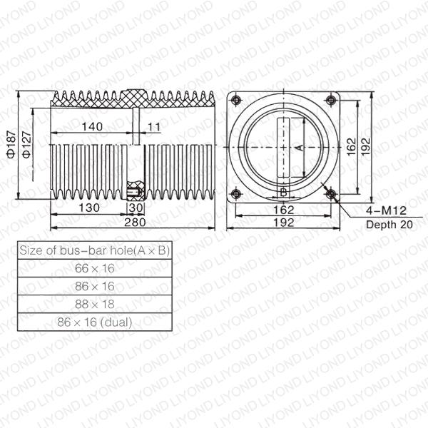 24kv Bushing LYC150 Indoor Insulating Sheet for Switchgear