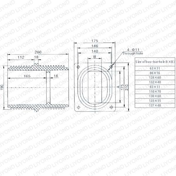 APG high voltage LYC148 epoxy resin wall bushing