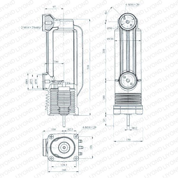 drawing Solid seal pole column EEP-12/2000-40