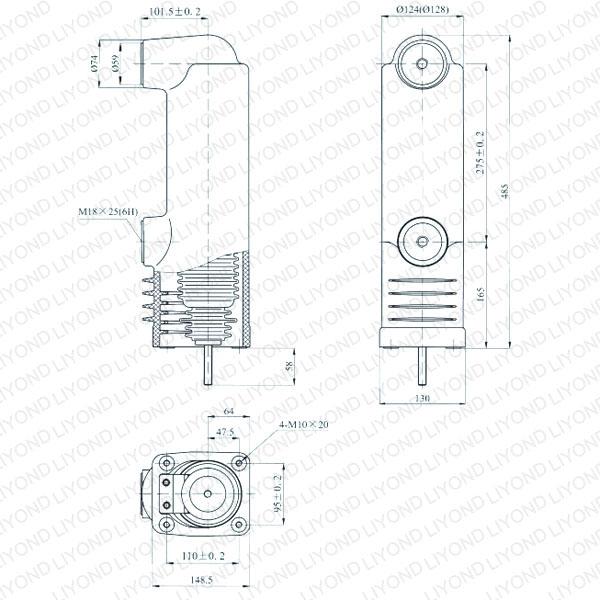 drawing Embedded pole for vacuum circuit breaker 12kV EEP-12/1600-31.5 EEP-12/1250-31.5