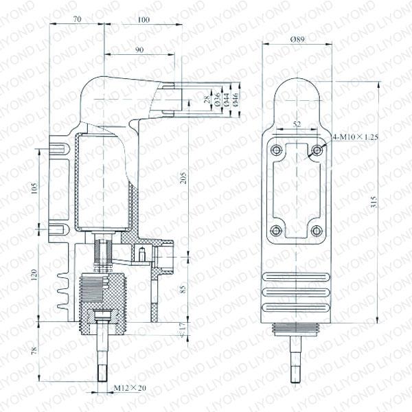 drawing Epoxy embedded poles for vacuum circuit breaker EEP4-12-630-16