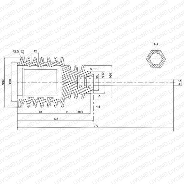 Insulating pull rod 12kV LYC173 for circuit breaker