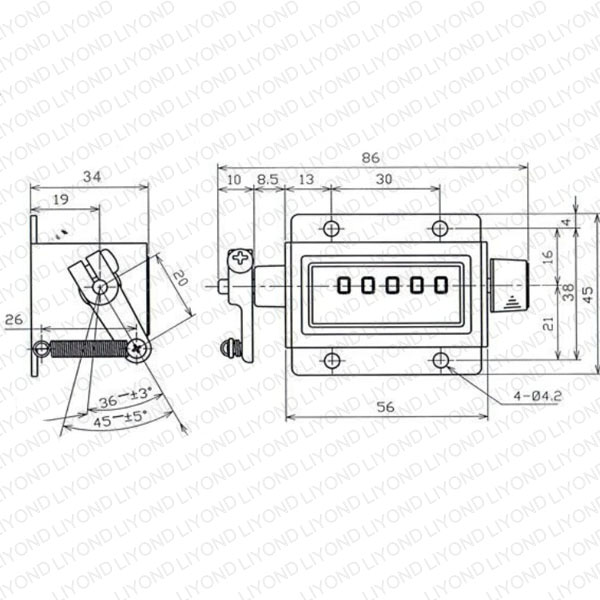 drawing digits mechanical counter for circuit breaker LYC180