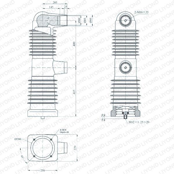 drawing Embedded pole cylinder 40.5kV EEP-40.5/2500-31.5 EEP-40.5/2000-31.5