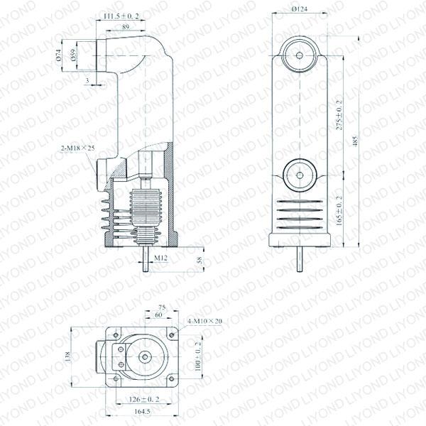 drawing Epoxy embedded pole for vacuum interrupter 12kV EEP3-12/1600-40 EEP3-12/1250-40