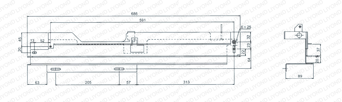 guide rail in switchgear 5XS.260.010 011 drawing