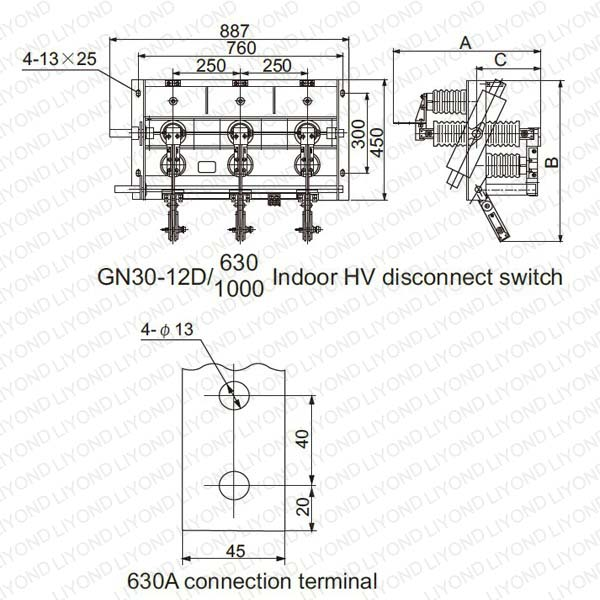 GN30-12(D)Rotary Indoor AC HV Disconnect Switch