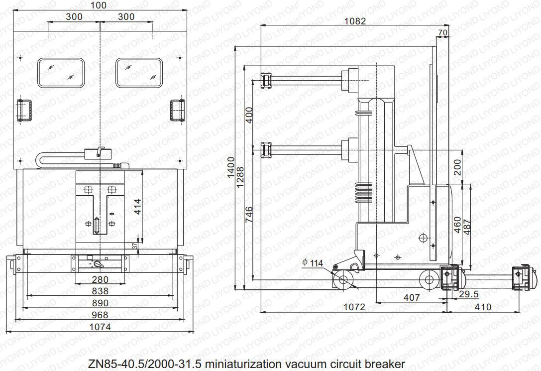 drawing2 ZN85-40.5 Indoor High Voltage Vacuum Circuit Breaker