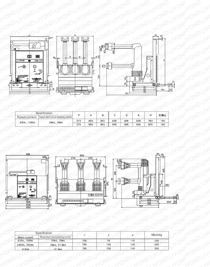 outline 24kV with Embedded poles indoor high voltage vacuum circuit breaker for switchgear