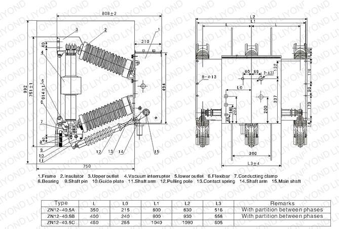 outline drawing ZN12-40.5(3AF) Indoor High Voltage Vacuum Circuit Interrupter
