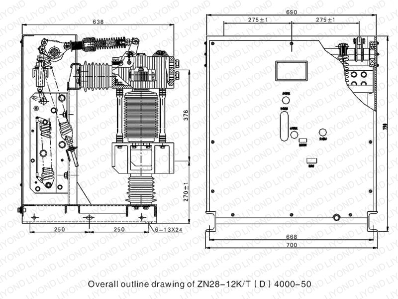 outline drawing2 ZN28 12K indoor high voltage VCB for 12kV switchgear1 zn28 12k indoor high voltage vcb for 12kv switchgear liyond vcb panel wiring diagram at mifinder.co