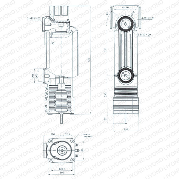 drawing Embedded pole cylinder for vacuum circuit breaker 24kV EEP-24/2500-31.5