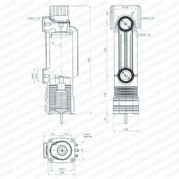 Drawing Embedded cylinder for vacuum circuit breaker 24kV EEP-24/3150-31.5