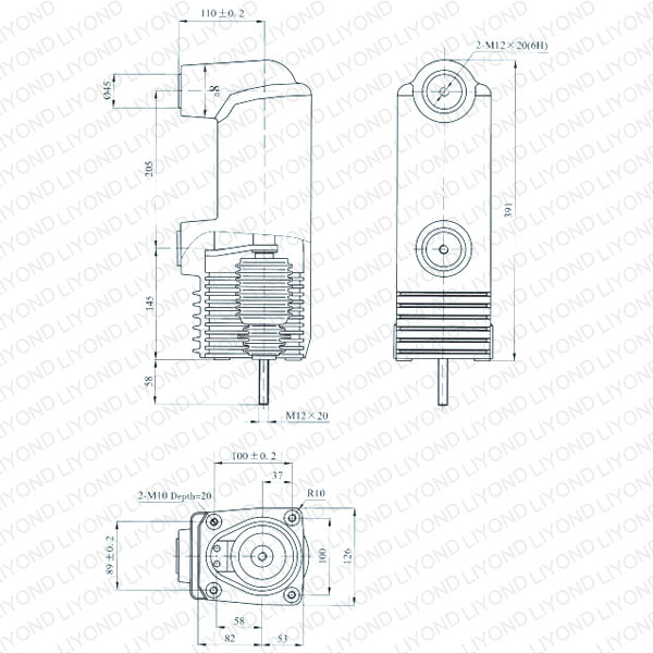 drawing Solid seal pole column for vacuum circuit breaker EEP1-12/1250-31.5
