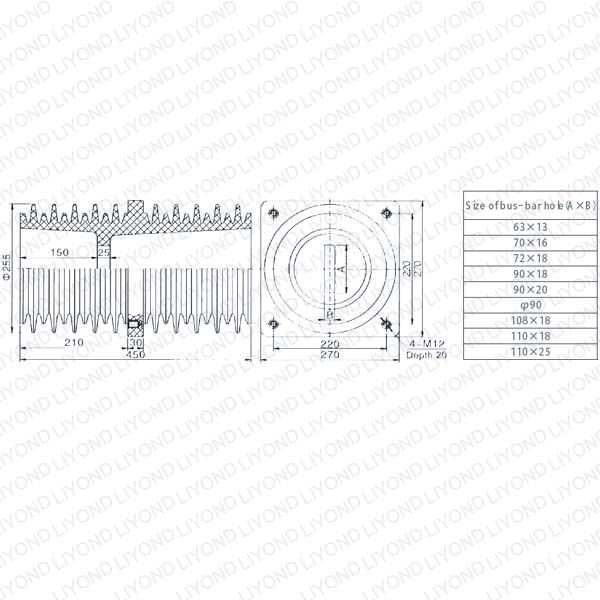 Electric insulator wall bushing LYC155 for switchgear