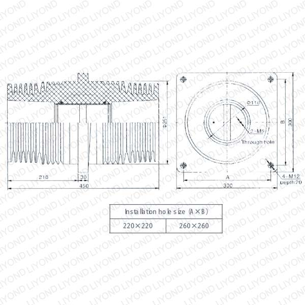 Indoor switchgear epoxy resin wall bushing LYC156