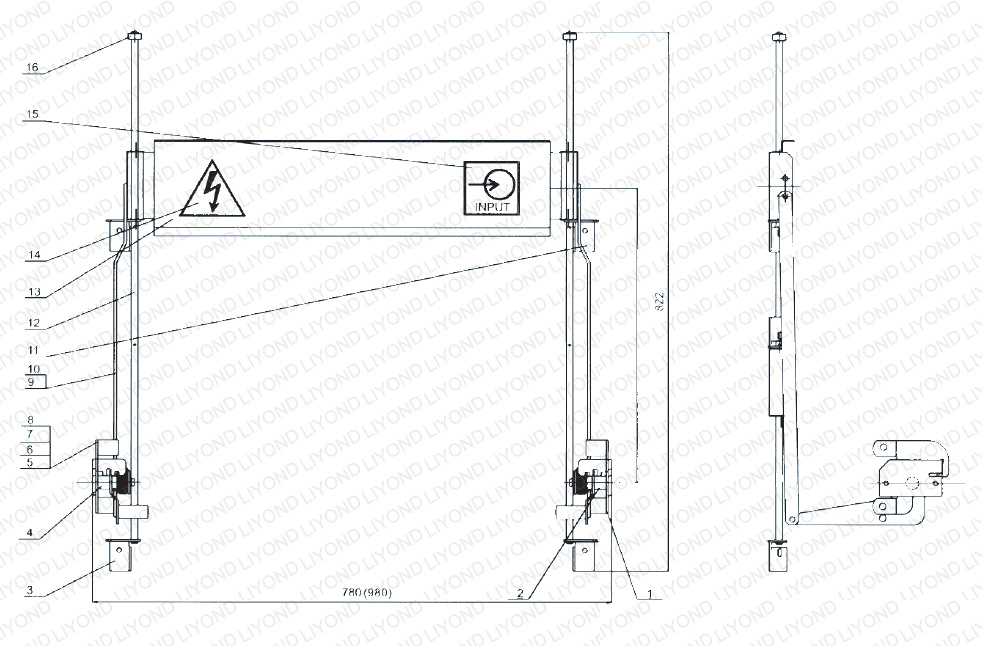 Upper shutter mechanism for 800mm or 1000mm width switchgear