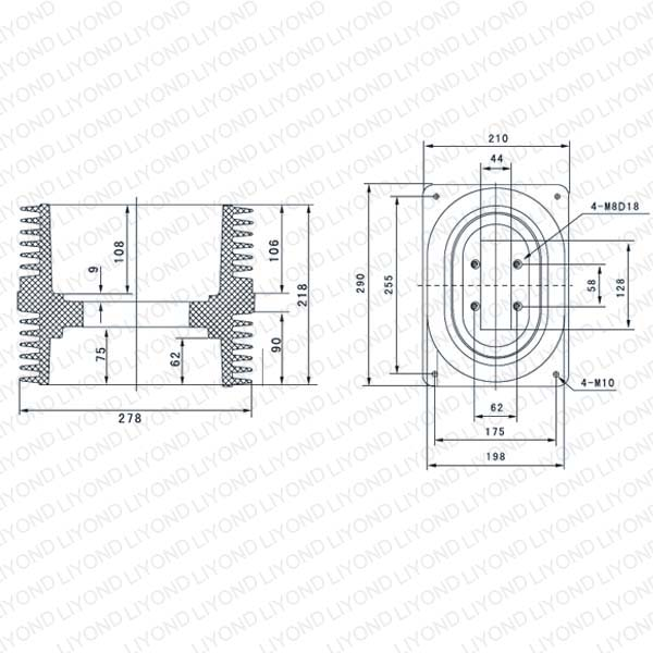 Wall tube LYC152 epoxy insulator for abb switchgear 24KV