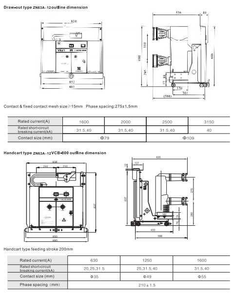 draw out type ZN63-12(VS1-12)indoor high voltage vacuum circuit breaker for switchgear 12kV