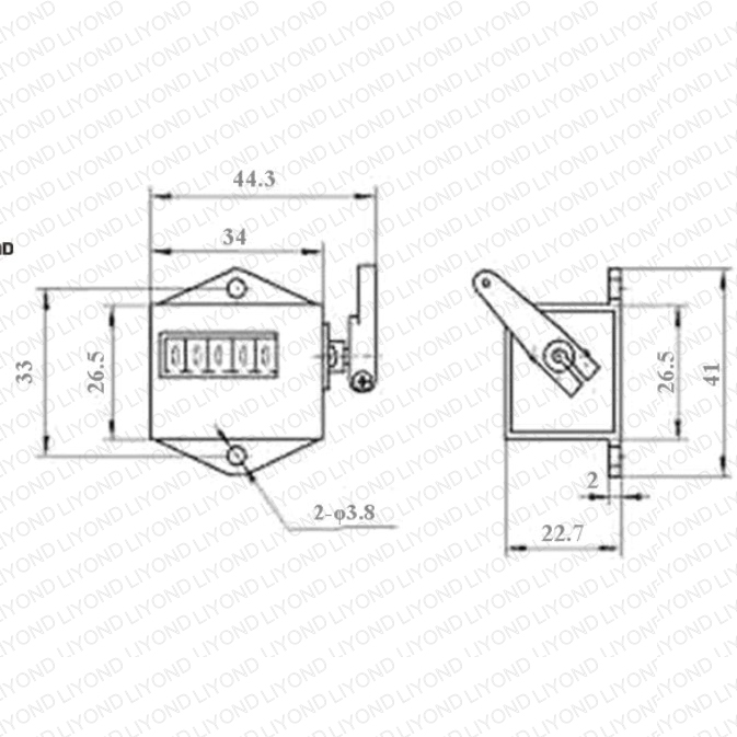 drawing mechanical counter 5 Dights for circuit breaker LYC181