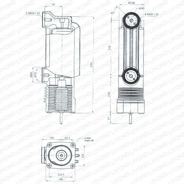 drawing Embedded pole cylinder 24kV EEP-24/1600-31.5 EEP-24/1250-31.5