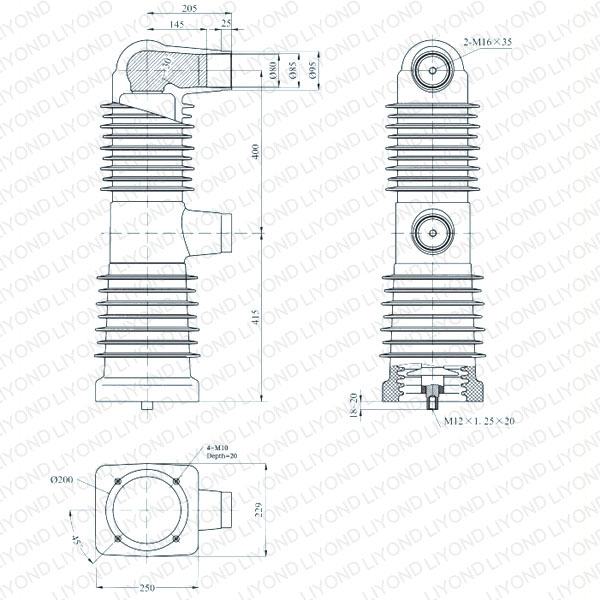 drawing Embedded pole cylinder 40.5kV EEP-40.5/2500-31.5 EEP-40.5/2000-31.5