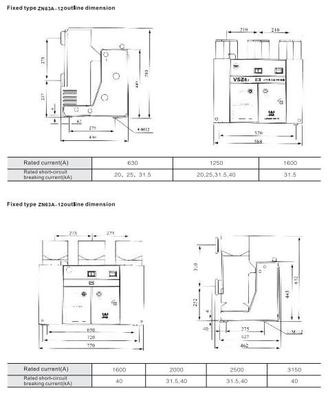 fixed type ZN63-12(VS1-12)indoor high voltage vacuum circuit breaker for switchgear 12kV