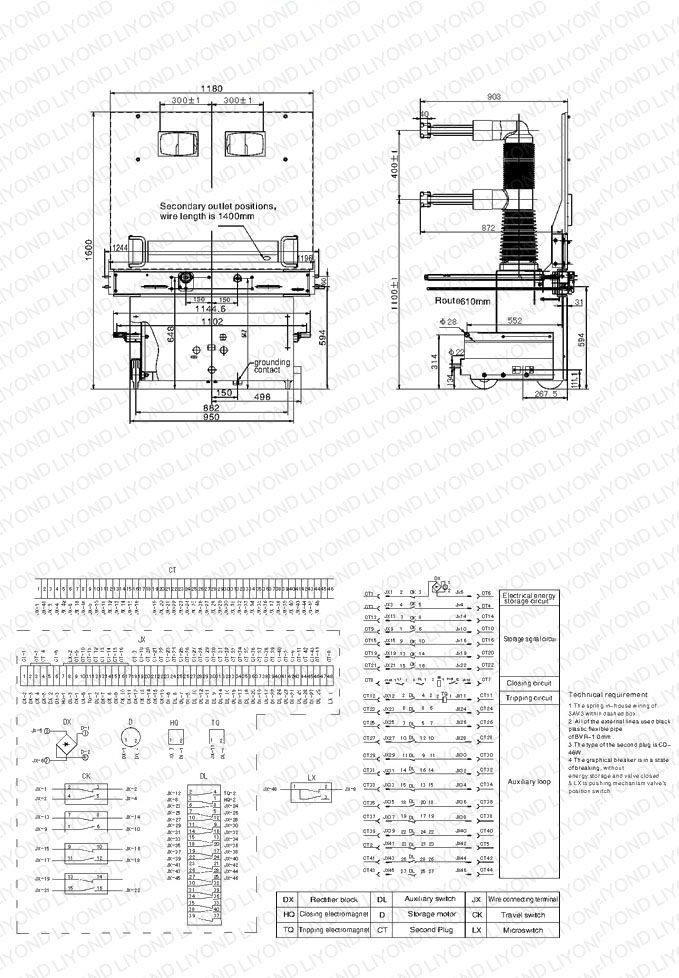 drawing 40.5kV indoor high voltage vacuum circuit interrupter with Embedded poles