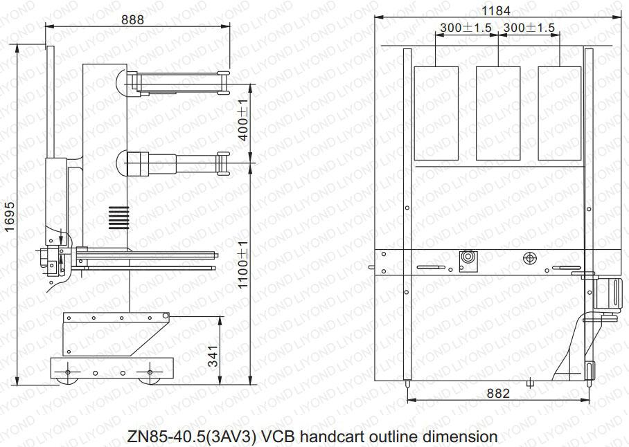 drawing ZN85-40.5 Indoor High Voltage Vacuum Circuit Breaker