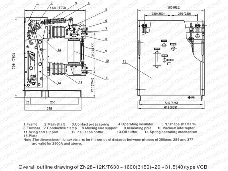 outline drawing1 ZN28 12K indoor high voltage VCB for 12kV switchgear1 zn28 12k indoor high voltage vcb for 12kv switchgear liyond vcb panel wiring diagram at nearapp.co