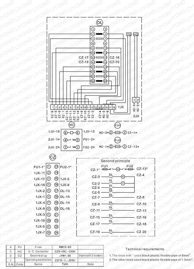 typical wiring diagram ZN39 40.5C Indoor High Voltage Vacuum Circuit breaker1 indoor panel wiring diagram wiring diagrams  at edmiracle.co