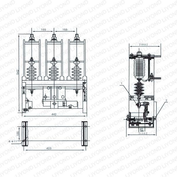 CKG CKJ3-12 KV160,250,400,630A Type AC H.V. Vacuum Contactor5