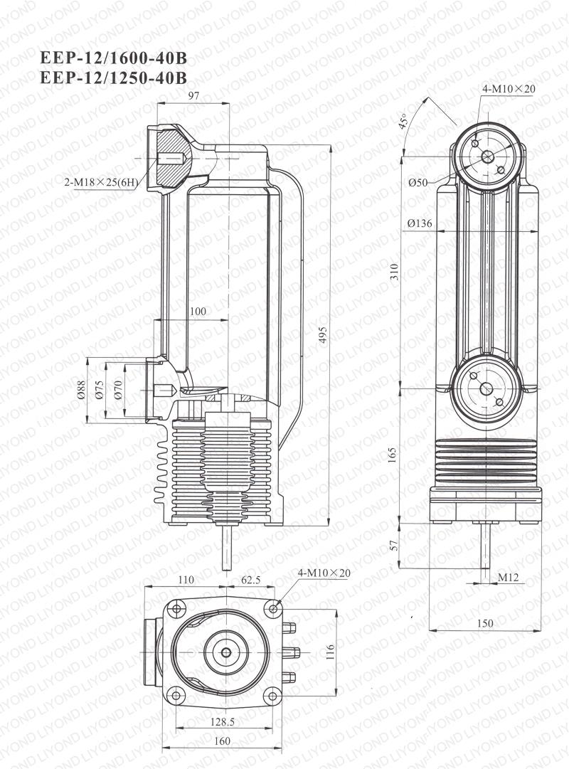 drawing 12kV EEP-12-1600/1250-40B pole column for vacuum circuit breaker