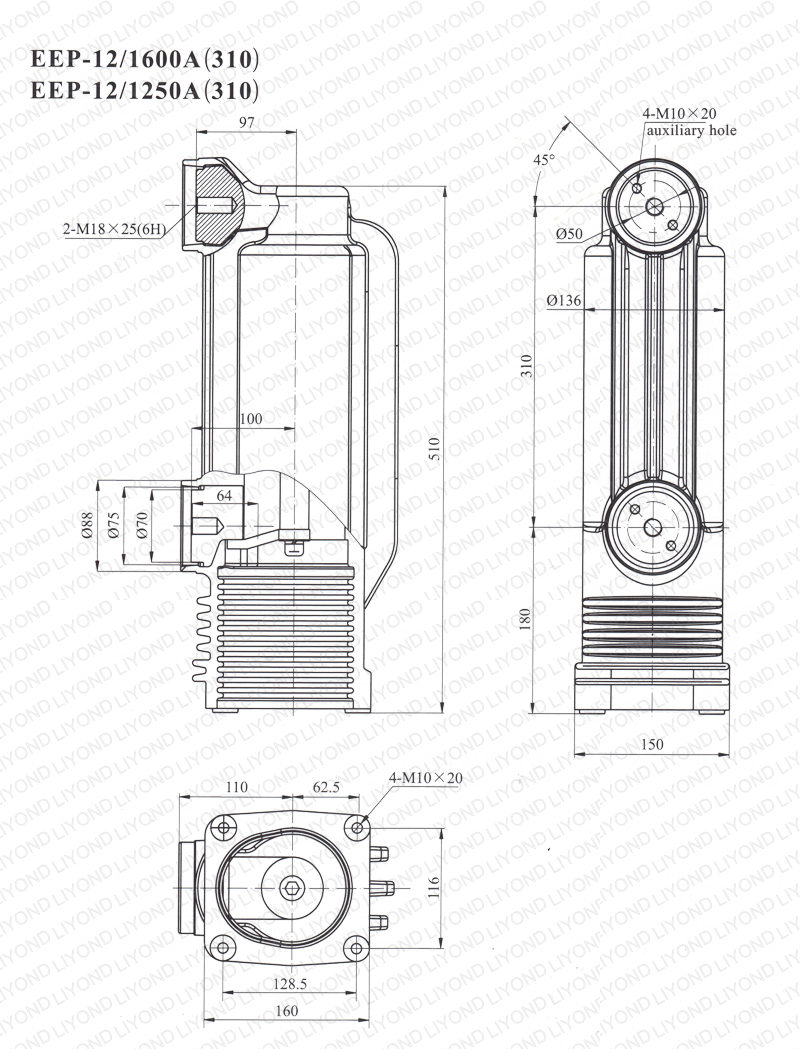 drawing 12kV EEP-12-1600A/1250A-310 pole column for vacuum circuit breaker