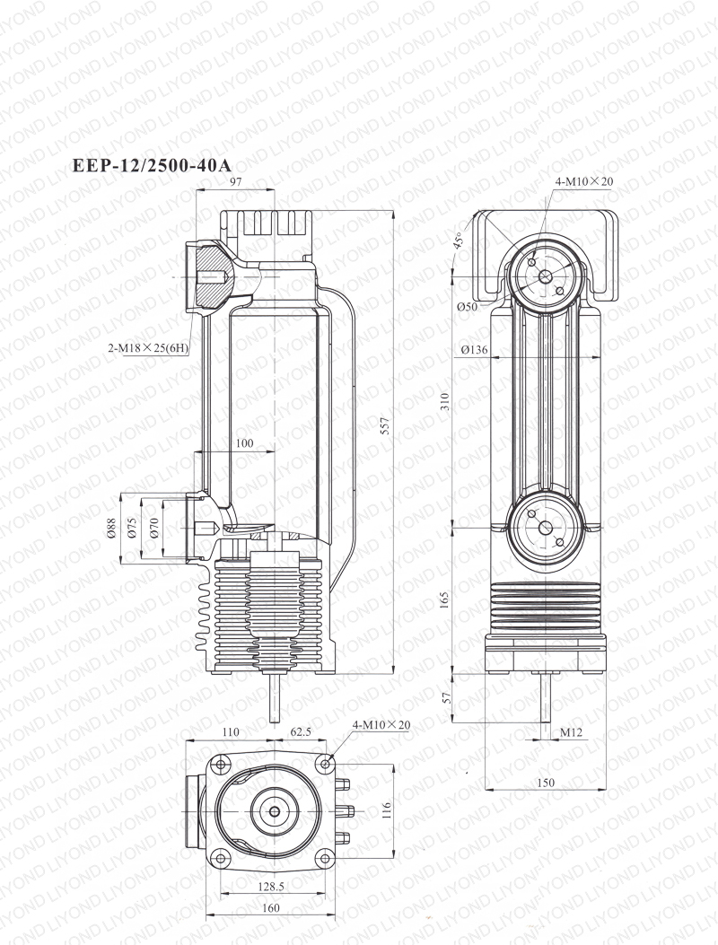 12kV EEP-12-2500-40A pole column for vacuum circuit breaker