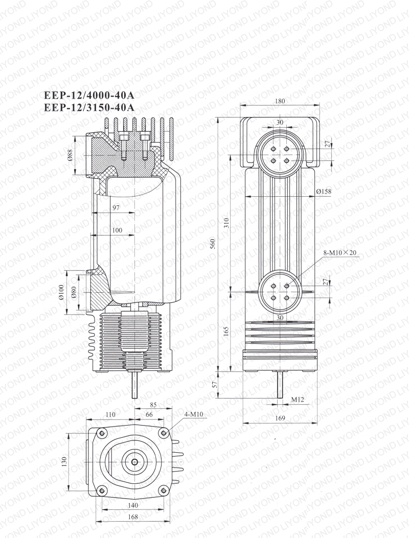 drawing 12kV EEP-12-4000/3150-40A embedded cylinder for vacuum circuit breaker