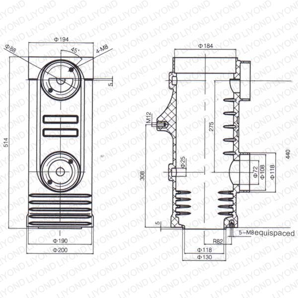Insulator cylinder HV vacuum circuit breaker LYC363
