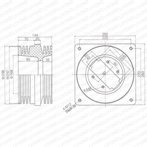 short bushing lyc192 switchboard insulation