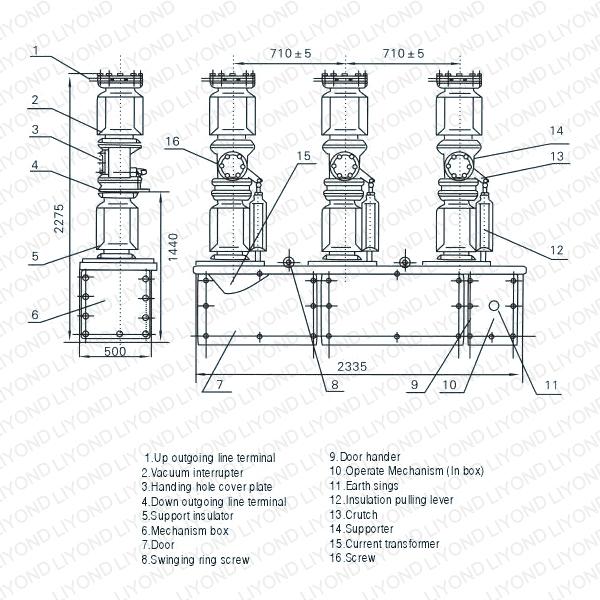 Zw7 40 5kv Series Outdoor H V Vacuum Circuit Breaker