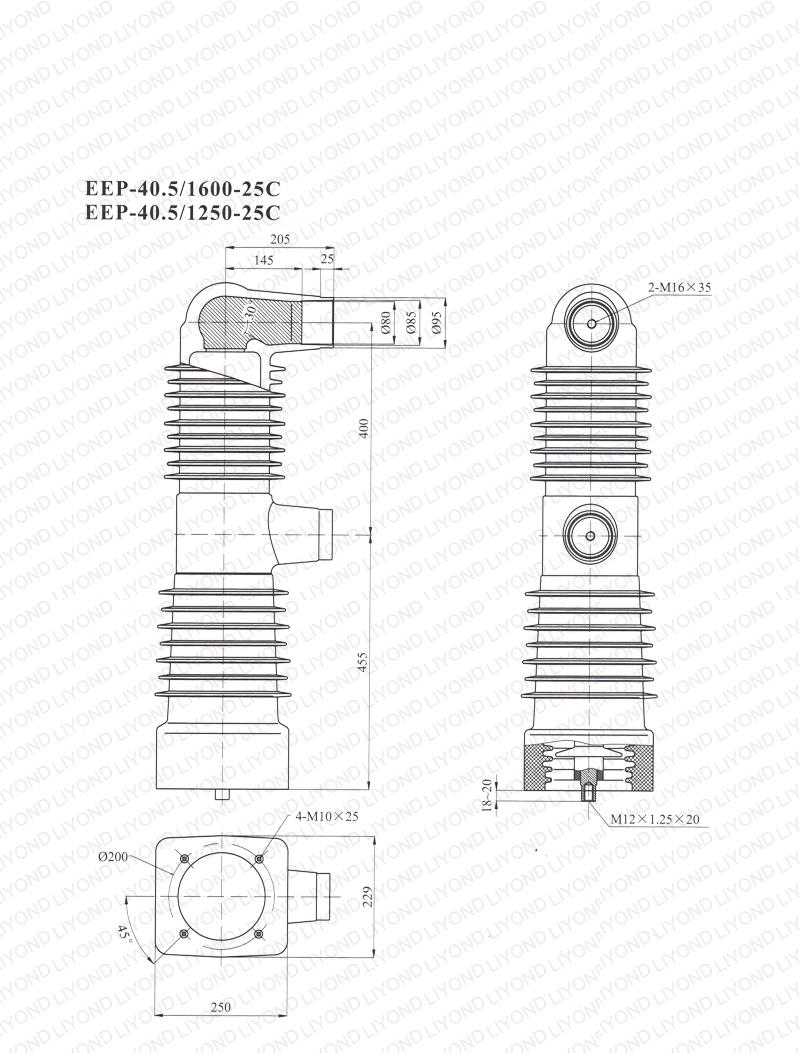 40.5kV EEP-40.5/1600-25C EEP-40.5/1250-25C embedded cylinder for vacuum circuit breaker